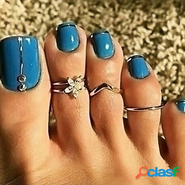 3 unidades / conjunto de anéis de dedo do pé boêmio retrô feminino flor strass anéis de prata antigos para pés praia joias