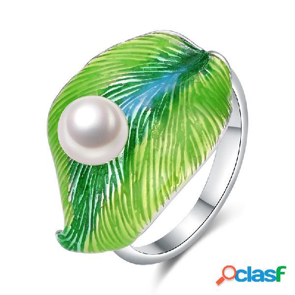 Anéis abertos da folha étnica anéis ajustáveis chapeados da platina esmalte branco verde elegante para mulheres
