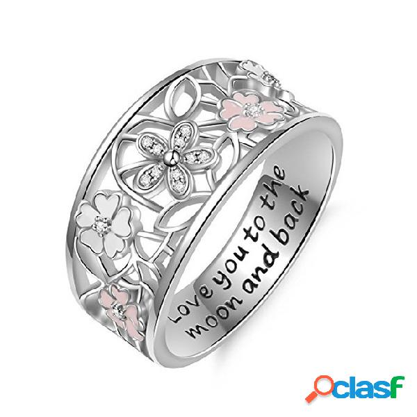 Doce rosa flor charme letras engraved dedo anéis de noivado de casamento jóias para as mulheres