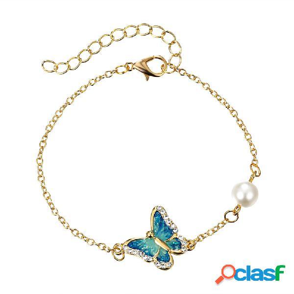 Esmalte étnico borboleta encanto pulseiras vintage deslumbrante rhinestone pulseiras de pérolas para as mulheres