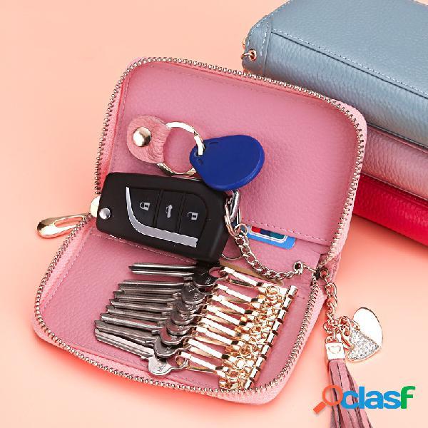 Mulheres elegante borla couro genuíno chave saco chave do carro sacos de armazenamento chaveiro carteira caso