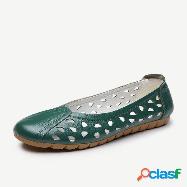 Sapatos casuais femininos de tamanho grande soft sapatilhas vazadas respiráveis de couro
