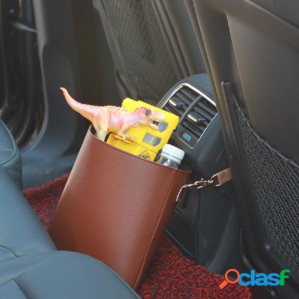 Assento de carro de couro pu, armazenamento traseiro bolsa lixo, lata de lixo, balde de armazenamento multifuncional