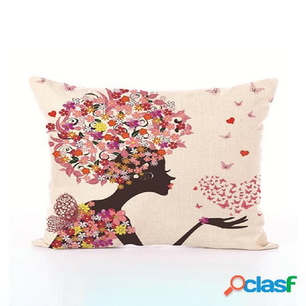 Contos de fadas estilo flor impresso capa de almofada borboleta meninas travesseiro caso casa cama hotel decorativo