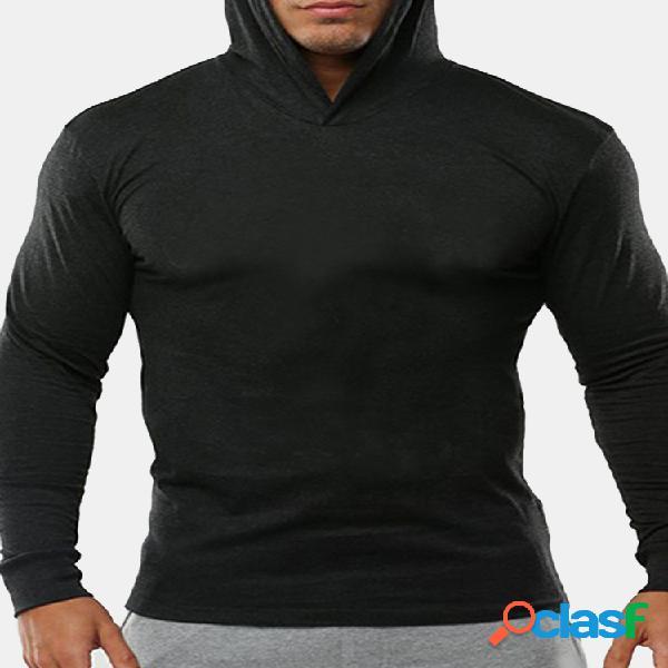 Mens algodão respirável com capuz tops cor sólida manga comprida casual sport t shirts