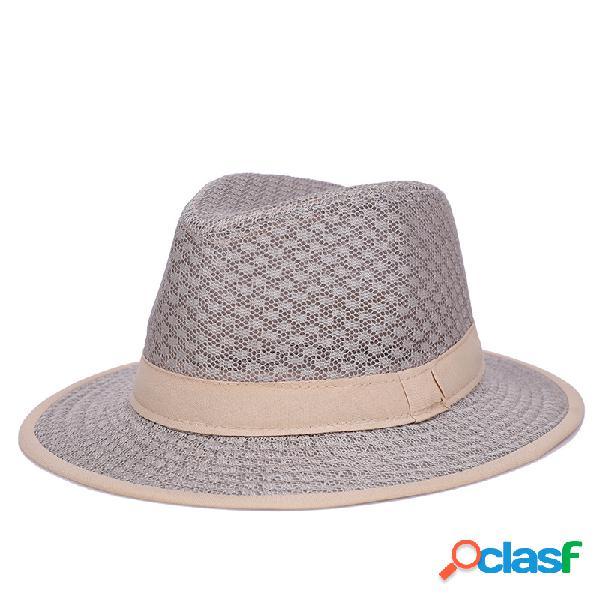 Mens brim malha sólida padrão respirável classic vintage jazz chapéu cap viagens sol