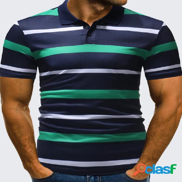 Mens business casual listrado impresso tops turndown collar algodão de manga curta golf camisa