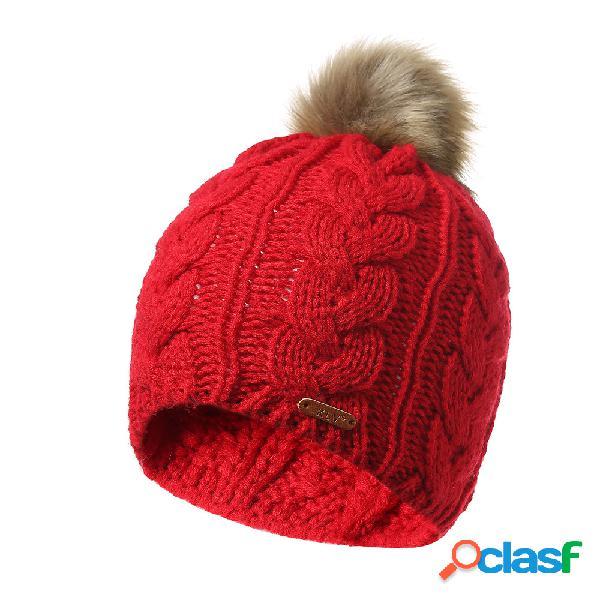 Mulheres inverno cor sólida de malha de algodão bola de pele beanie cap earmuffs quente ao ar livre casuais chapéus