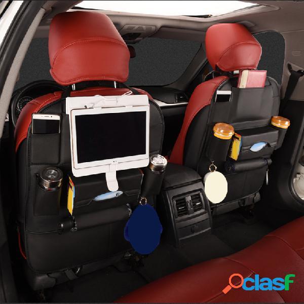Multifuncional pu couro assento de carro traseiro armazenamento bolso telefone organizador porta-copos