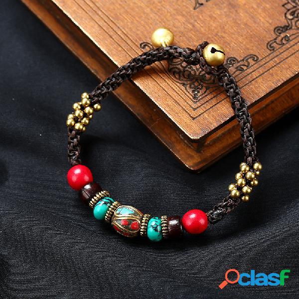 Original étnico feitos à mão exóticas nepalese bead wax corda pulseira songshi tibetano jóias fou mulheres