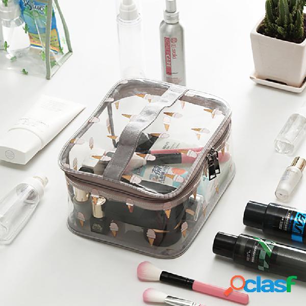 Viagem cosmética transparente multifuncional de grande capacidade bolsa armazenamento portátil bolsa