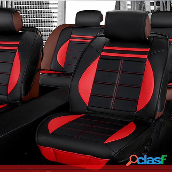 Kit de almofada de capa de assento de carro de edição deluxe de couro 11pcs preto e vermelho para carro universal 5