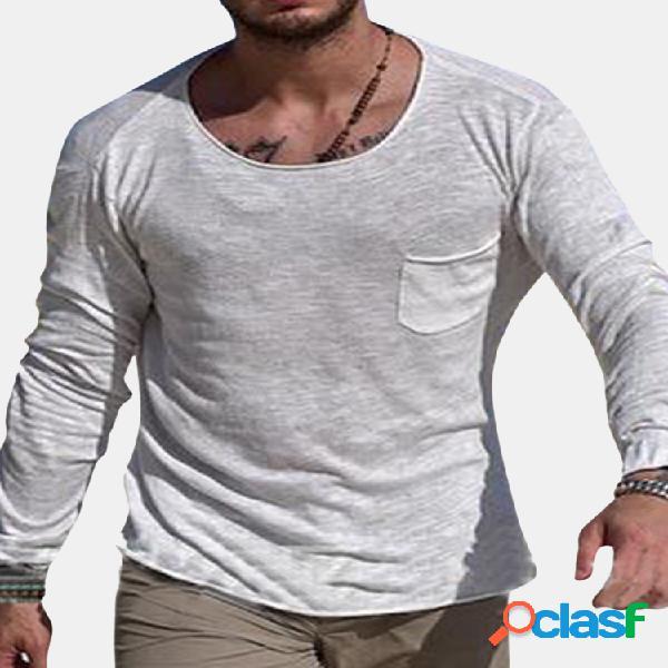T-shirt de manga comprida respirável elegante de bolso de cor sólida com decote redondo para homens