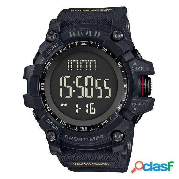 Leia esporte relógio de pulso digital multifuncional display luminoso moda tempo de alarme relógios para homens