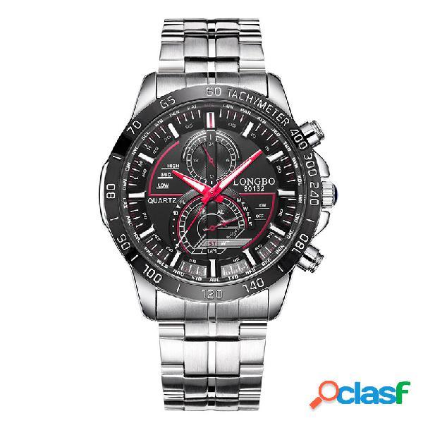 Relógio de pulso de quartzo luminoso comercial data de aço inoxidável banda relógios da moda para homens