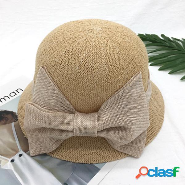 Senhoras dome algodão simples borboleta nó respirável sweat moda lazer bucket cap