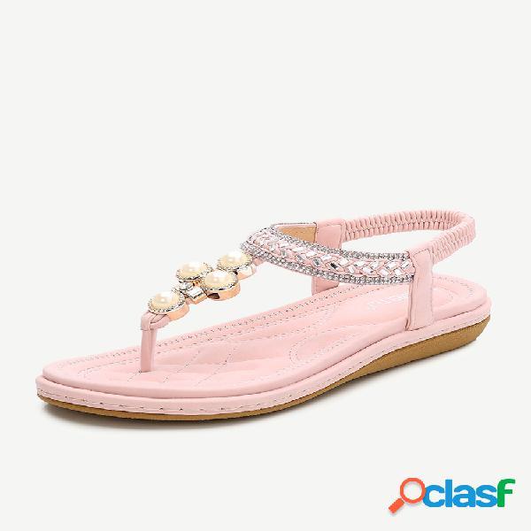 Tamanho grande feminino bohemia praia chinelos beading sandálias planas