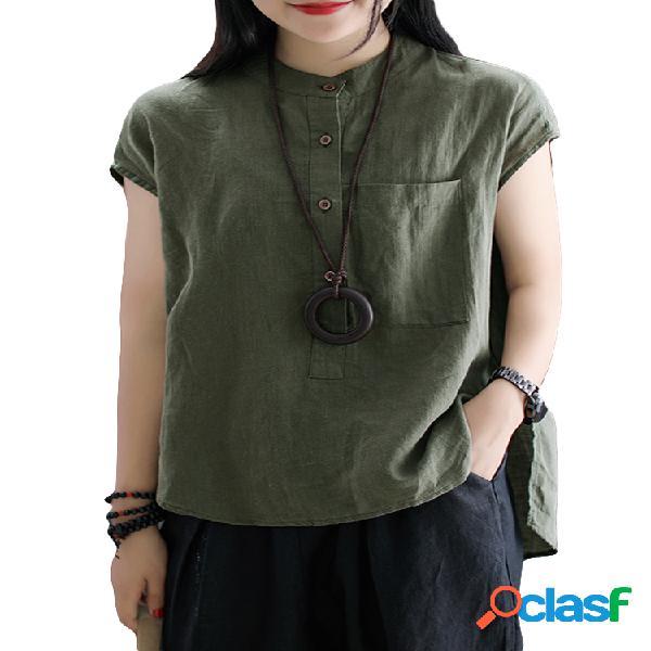 Blusa de tamanho irregular vintage de cor sólida manga curta plus