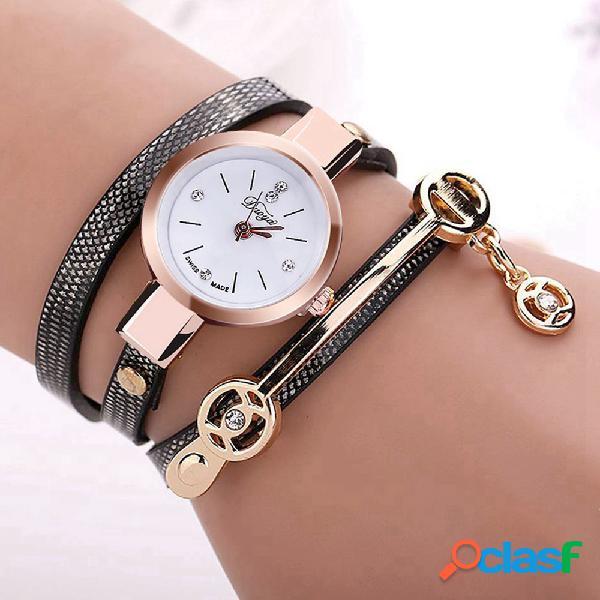 Duoya retro pulseira de quartzo wristatch caso de ouro pulseira relógio pulseira de couro relógios para as mulheres