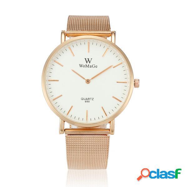 Moda quartzo relógio de aço inoxidável fina de ouro rodada relógio de pulso de discagem para homens