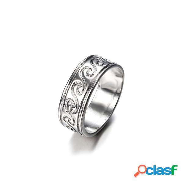 Vinatge anel de dedo antigo prata simples padrão gravado onda anéis jóias étnicas para mulheres homens