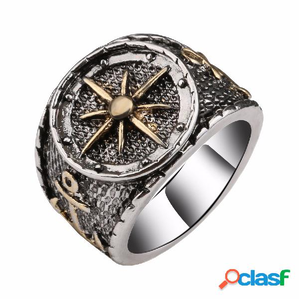 Anéis de dedo do vintage antigo prata astrolabium bússola padrão anéis jóias étnicas para homens