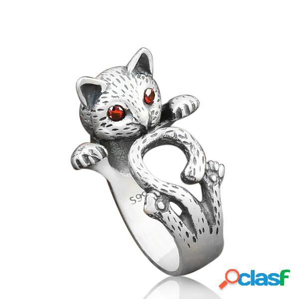 Anéis de dedo do vintage olhos vermelhos fortune cat bonito anéis de prata antigo jóias étnicas para as mulheres