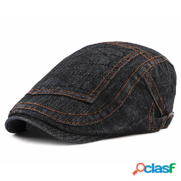 Homens algodão lavado fino boina cap lazer ao ar livre quente cowboy moda malha sol chapéu