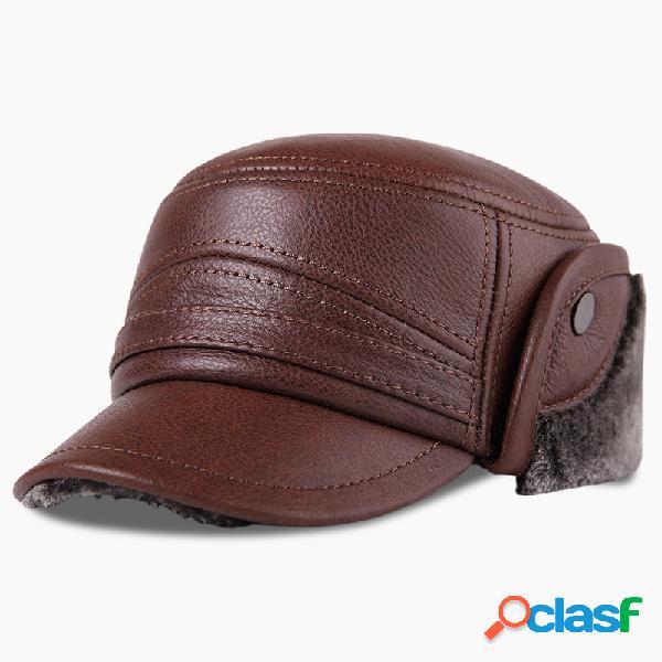 Mens vintage casual confortável inverno quente de pelúcia de couro quente chapéu ao ar livre proteger orelha cap