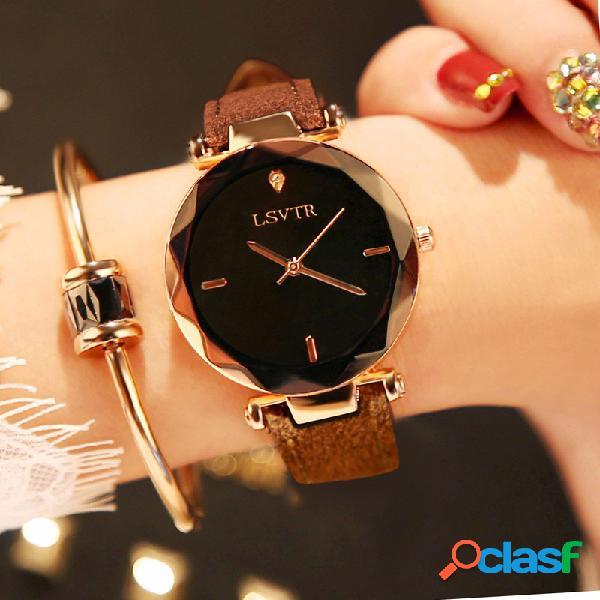 Relógio de pulso de quartzo fino aço inoxidável preto branco redondo mostrador com pulseira de couro para mulheres