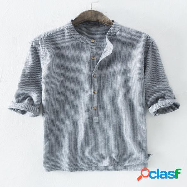 Algodão masculino listrado impresso meia manga solta casual henley camisa