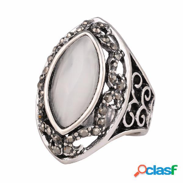 Anéis de dedo do vintage branco strass oco oval geométrica anéis jóias étnicas para as mulheres