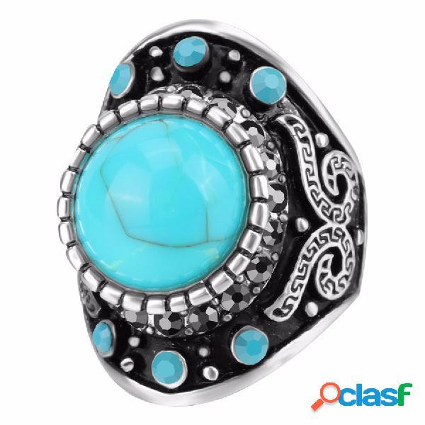 Anel de dedo do vintage azul turquesa cristal geométrica anéis de prata antigo jóias étnicas para homens