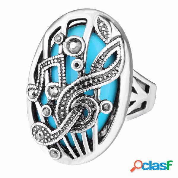 Anel de dedo do vintage oco carve music match strass oval geométrica anel jóias étnicas para as mulheres