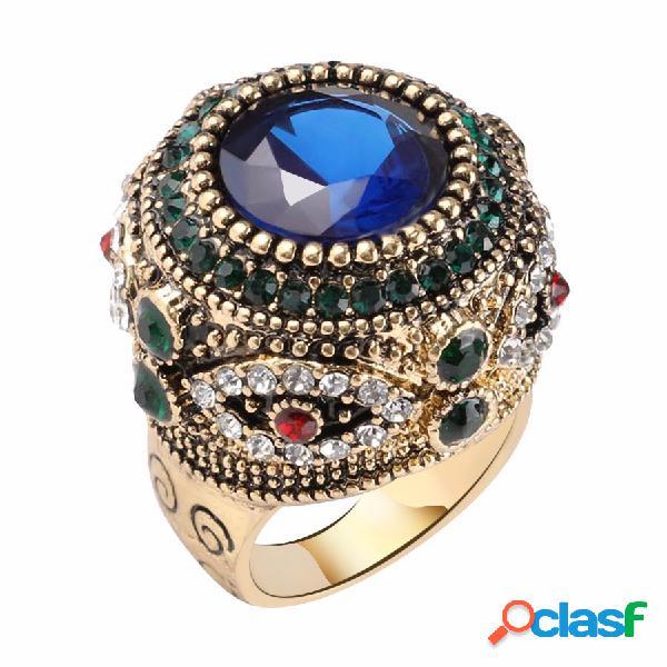 Boêmio anéis de dedo azul strass banhado a ouro rodada geométrica anéis jóias étnicas para as mulheres