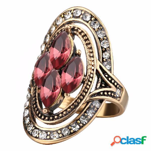 Boêmio anéis de dedo red gemstone cristal oco oval geométrica anéis jóias étnicas para as mulheres