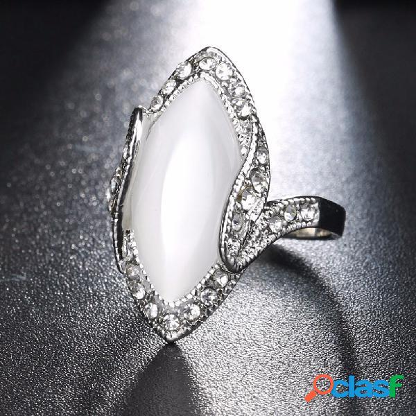 Boêmio anéis de dedo resina branca rhinestone oval opala anéis geométricos jóias étnicas para as mulheres
