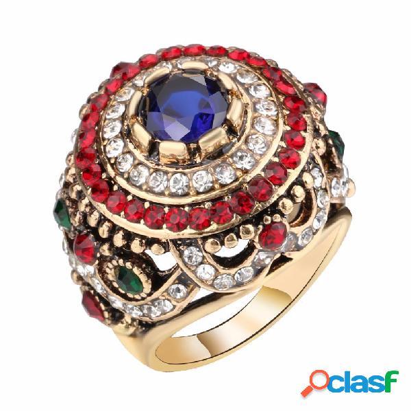 Bohemian anéis de dedo opal banhado a ouro azul resina cristal oco anéis jóias étnicas para as mulheres