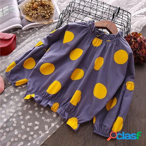 Dot impresso meninas manga comprida solta casual camisa para 3y-12y