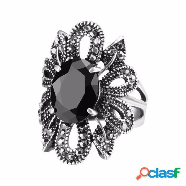 Elegante anéis de dedo preto de cristal antigo de prata oco flor folhas anéis do punk jóias para as mulheres