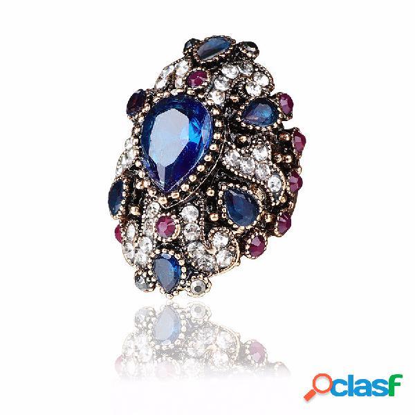 Luxo anel de dedo colorful gota de água de cristal banhado a ouro geométrica anéis jóias étnicas para as mulheres