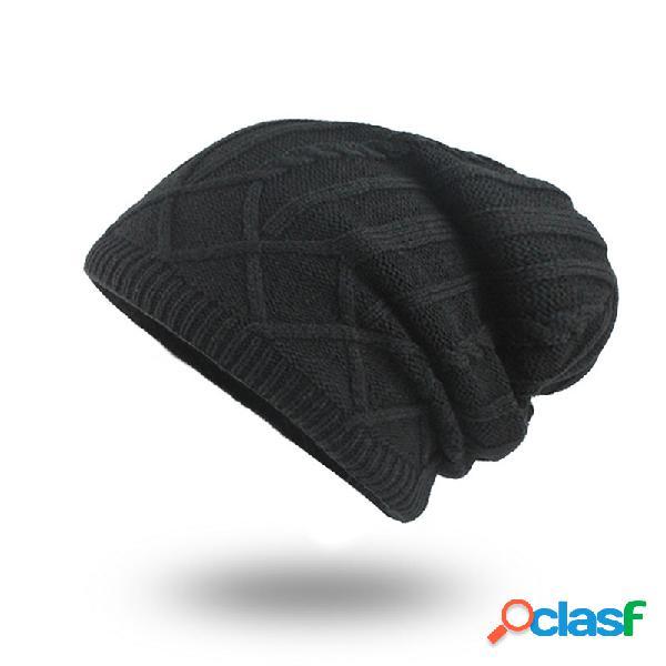 Mens de lã de malha de veludo chapéu quente bom elástico chapéu inverno ao ar livre casual gorro