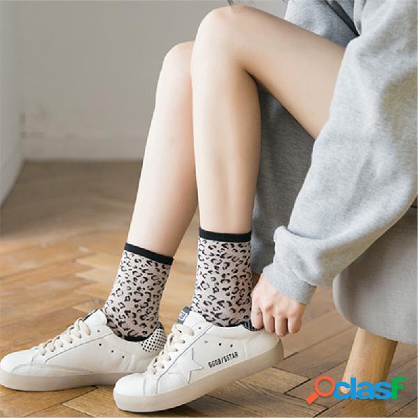 Mulheres algodão fino leopardo respirável quente soft durável não se desvanece moda meias