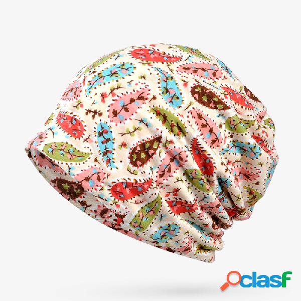 Mulheres pequena flor padrão algodão fino gorro chapéu lazer moda respirável turbante caps