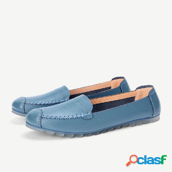 Sapatos de couro feminino soft de cor sólida