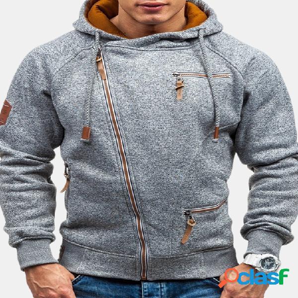 Casuais masculinos com zíper design moletons moletons de algodão com capuz com cordão para homens
