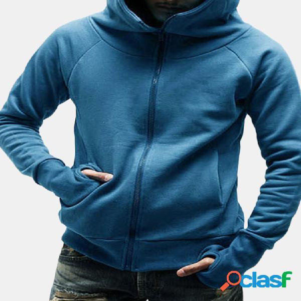 Mens engrossar com capuz extra fluff warmer moda zipper com capuz top sportswear moletom casual