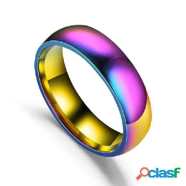 Moda casal anéis de dedo colorido superfície lisa aço inoxidável simples jóias para mulheres homens