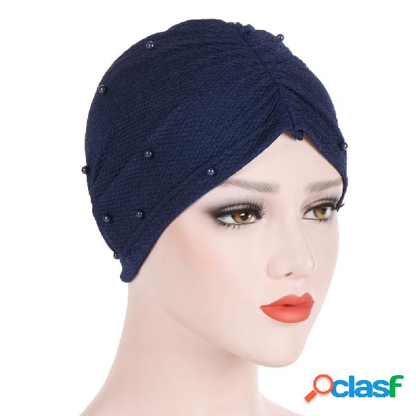 Respirável confortável das mulheres pérola chapéu casual elastic beanie chapéu s pilha muçulmano pilha heap