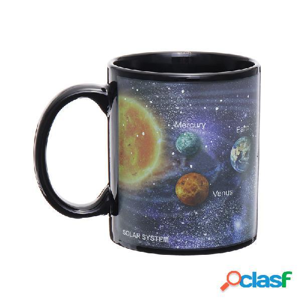 Sistema solar estrelado sky mudança de cor mágica copo sensível ao calor café chá copo de leite cerâmico copo